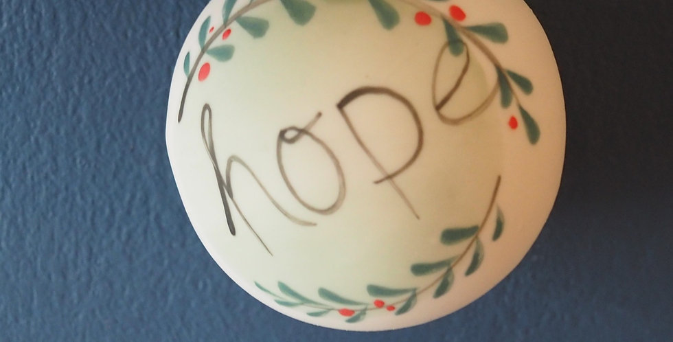 Christmas Baubles with good vibes- Joy, Hope, Love