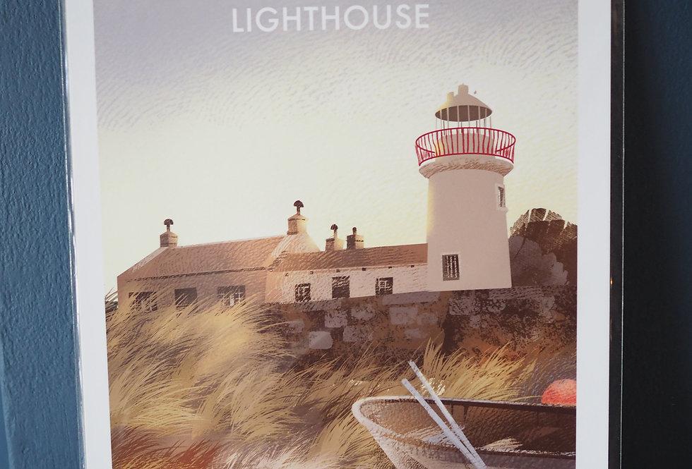 Irish Lighthouse Series A4 Artist Signed Print- Mutton Island