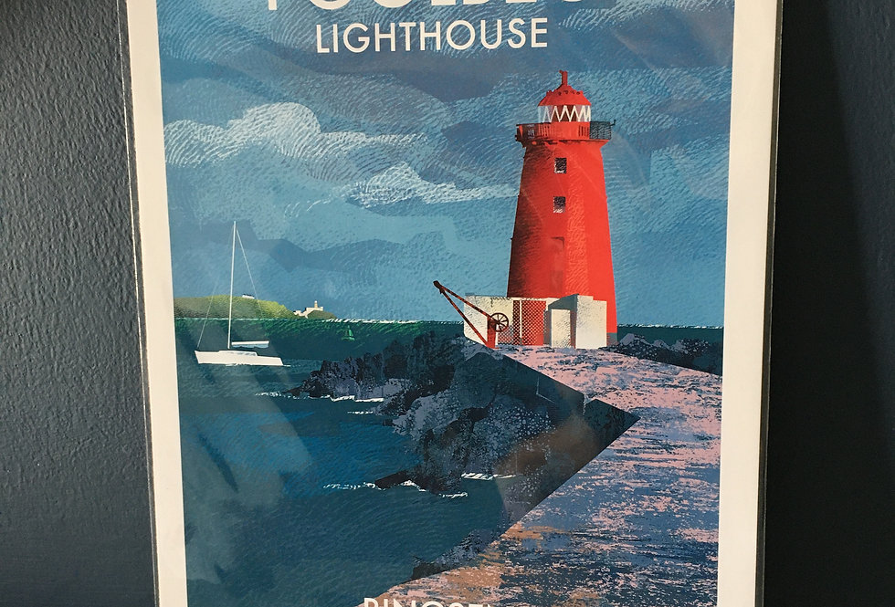 Irish Lighthouse Series A4 Artist Signed Print- Poolbeg