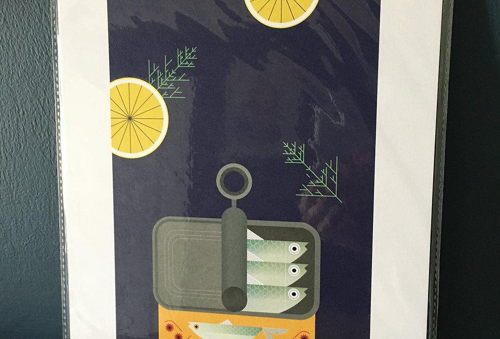 Tinned Sardines contemporary art print- Sally Caulwell
