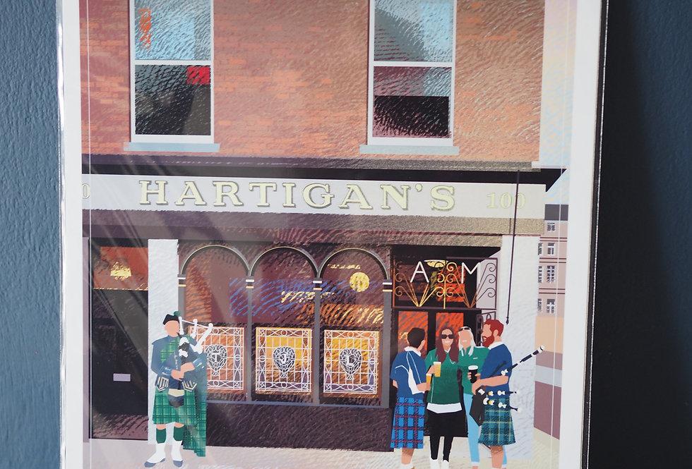 Irish Pub Series Print A4 -Hartigans - Dublin