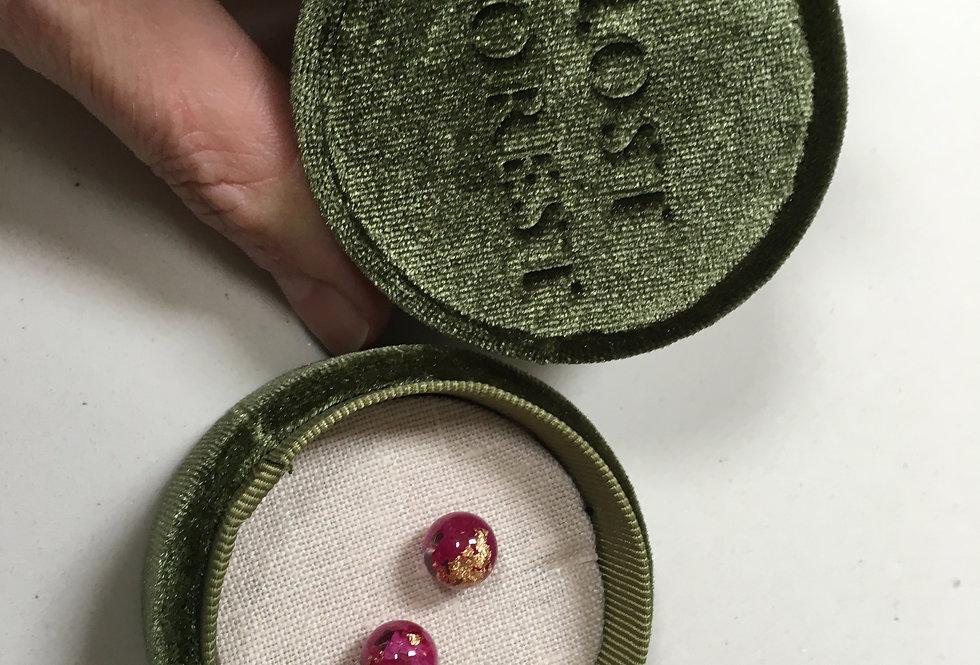 Pink Petal Dew Drop Earrings- Lost Forest