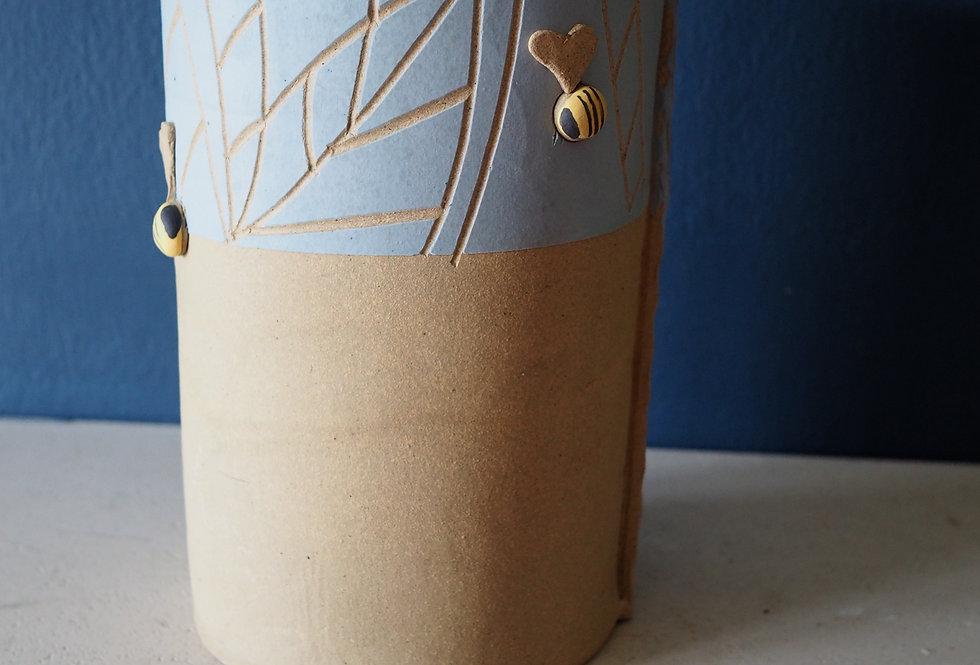 Stoneware Bee Vase Small- KaroArt