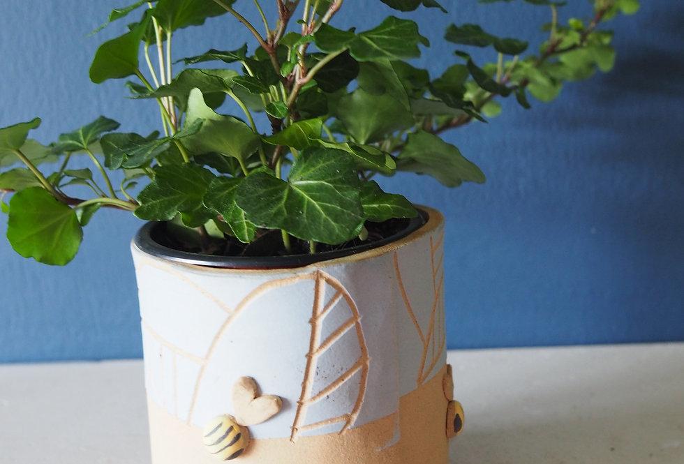 Handmade stoneware Bee planter - KaroArt