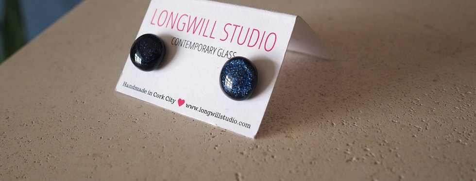Sparkly glass stud earrings disco blue - Longwill Studios