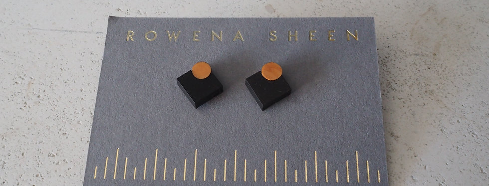 Diamonds Contrasting Yew Mini Stud Wooden Earrings- Rowena Sheen