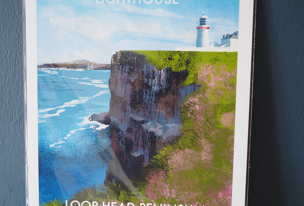 Irish Lighthouse Series A4 Artist Signed Print-Loop Head
