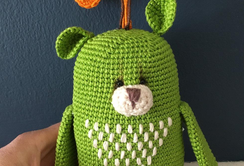 Handmade Little green bear front view