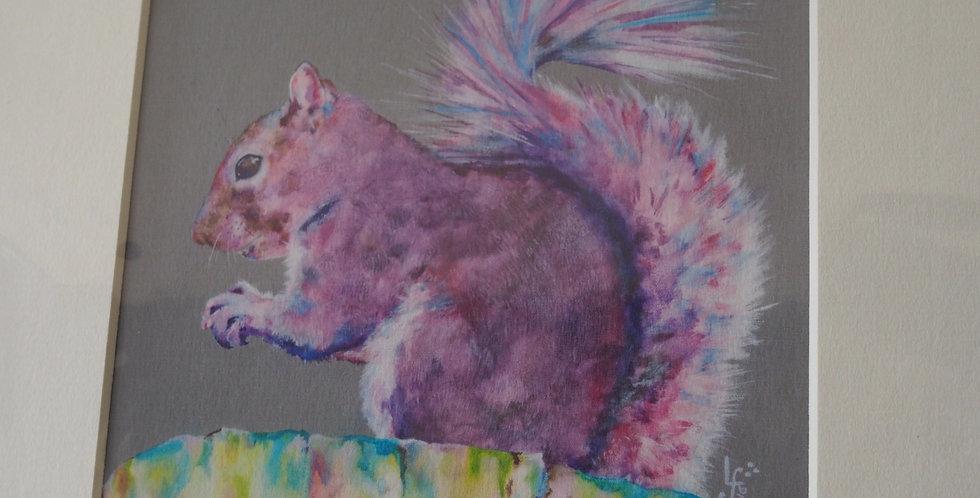 Purple Haze Squirrel Irish Artist Limited Edition Print- Lorraine Fletcher