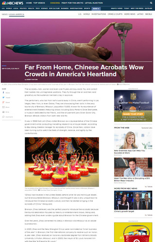 From NBCNews.com...  Far From Home, Chinese Acrobats Wow Crowds in America's Heartland