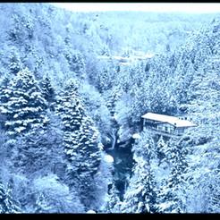 厳冬のおしどり隠しの滝