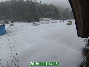 白駒池駐車場で早くも積雪!