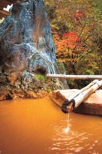 秋の巨石露天風呂