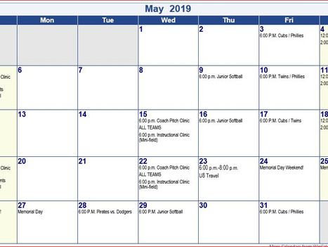 St. A's 2019 May Schedule Coach Pitch, Junior Softball & Instructional (Updated Please Read)