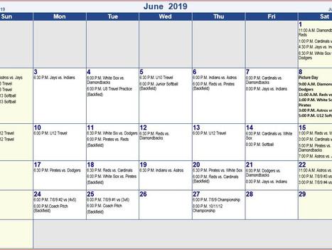 St A's 2019 June  Schedule 7/8/9, 10/11/12, U8 Baseball, U10 Baseball, U12 Baseball , U11 Softba