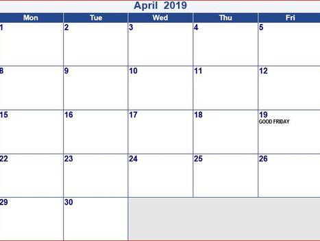 April 2019 Instructional Schedule