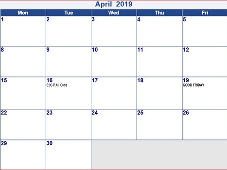 April Schedule 2019 Coach Pitch Schedule