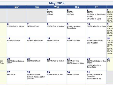 St A's 2019 May Schedule 7/8/9, 10/11/12, U8 Baseball, U10 Baseball, U12 Baseball , U11 Softball