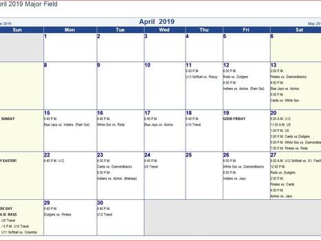 April Schedule 2019 7/8/9, 10/11/12, U8 Baseball, U10 Baseball, U12 Baseball , U11 Softball, U13 Sof