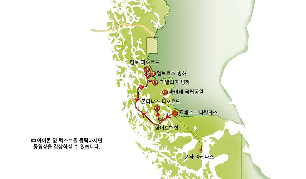 스코피오스 빙하 크루즈 지도