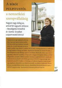 Nemzetközi szerepvállalás riport dr. Kontra Erzsébettel (PKKB csoportvezető bírója)