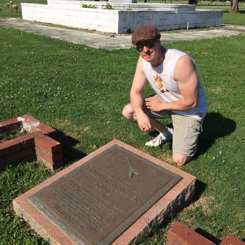Paige at Albert Kings Grave