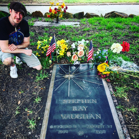 Paige at Stevie Ray Vaughans Grave