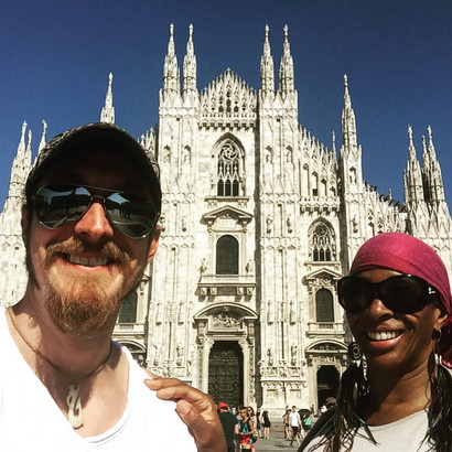 Paige with Shakura S'aida in Milano Italy