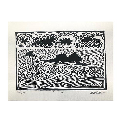 'Cloudy Day' original Linocut print