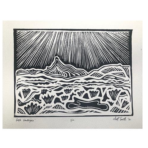 'Lush Landscapes' Linocut print