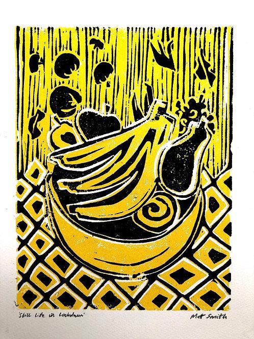 'Still Life in Lockdown' Linocut print
