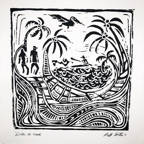 'Winter in Noosa' Large Linocut print