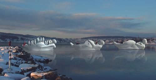 Fotomontage af Life-boats modeller 1:5, i Larvikfjorden, Norge