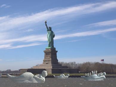 Fotomontage af Life-boats modeller 1:5 i Hudson River, USA