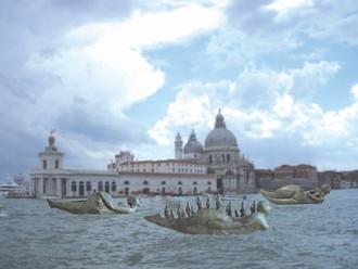 Fotomontage af Life-boats bronze modeller 1:40 i Venedig, Frankrig