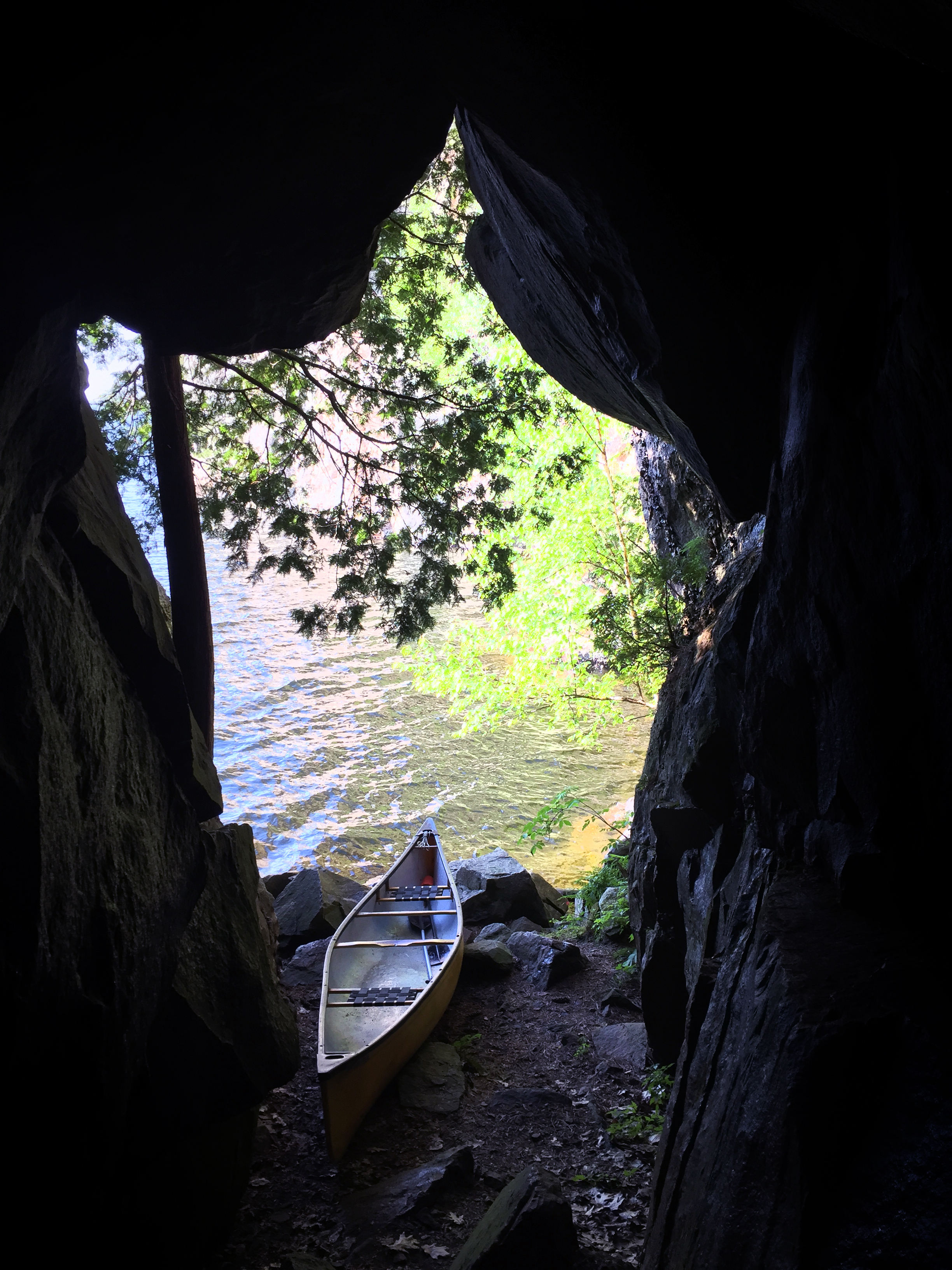 A canoe in a cave