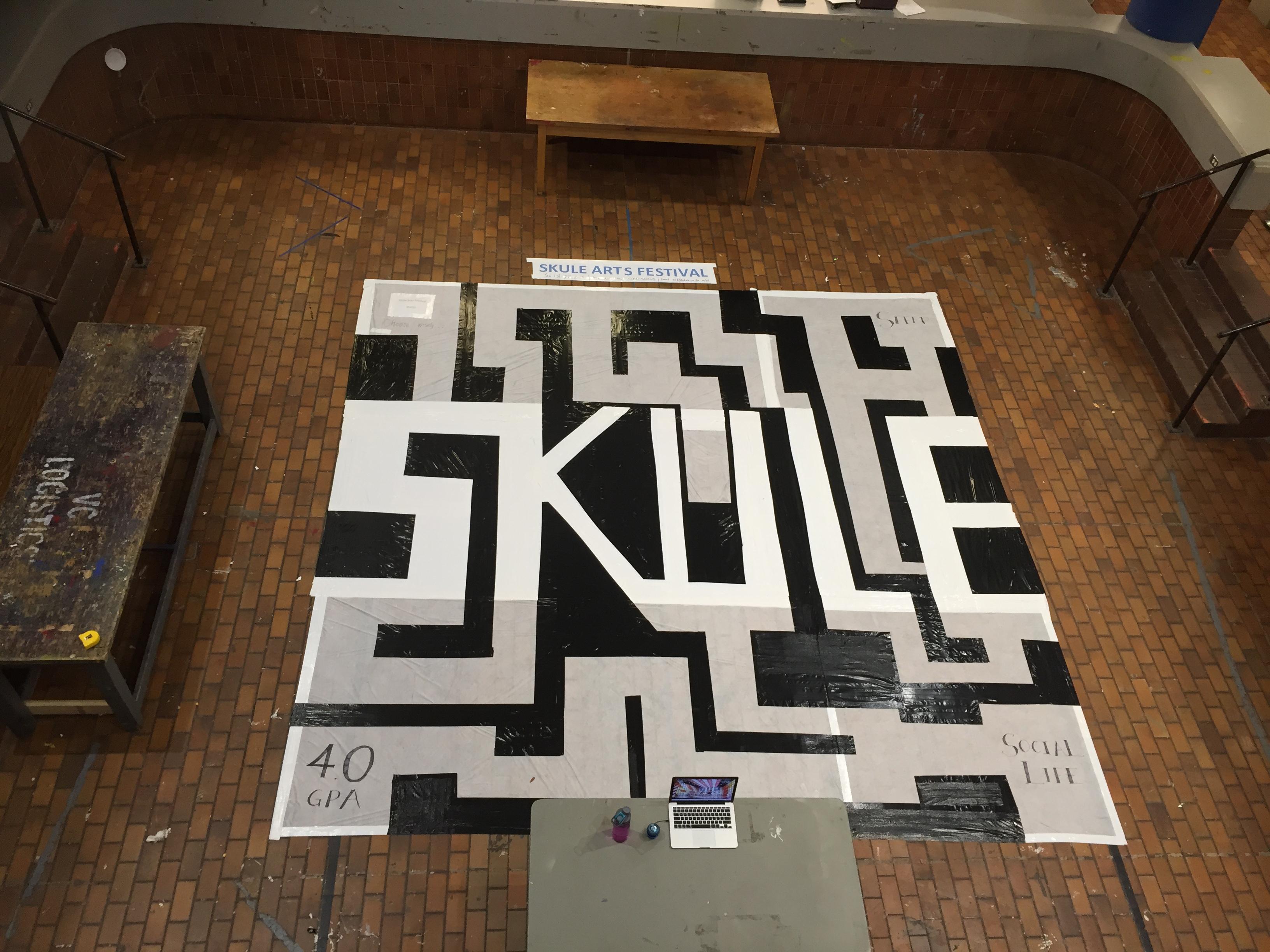 Overhead view of final maze