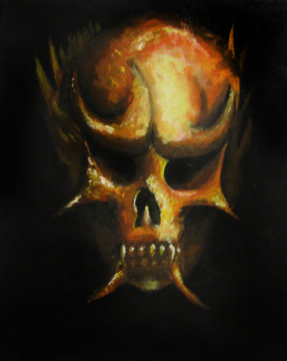 Acrylic depiction of a skull