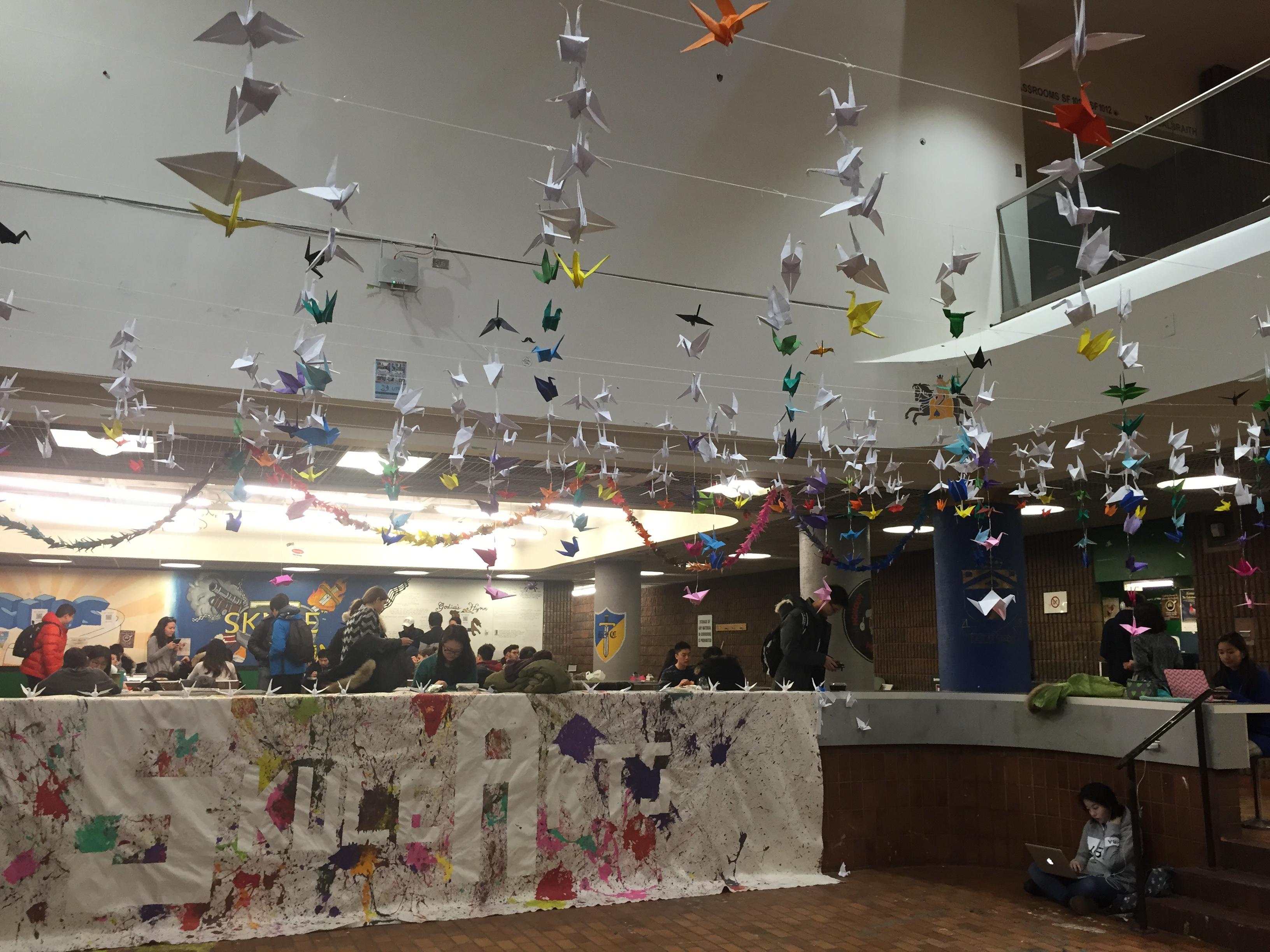 Below view of the hanging cranes