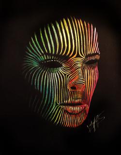 Coloured pencil line portrait