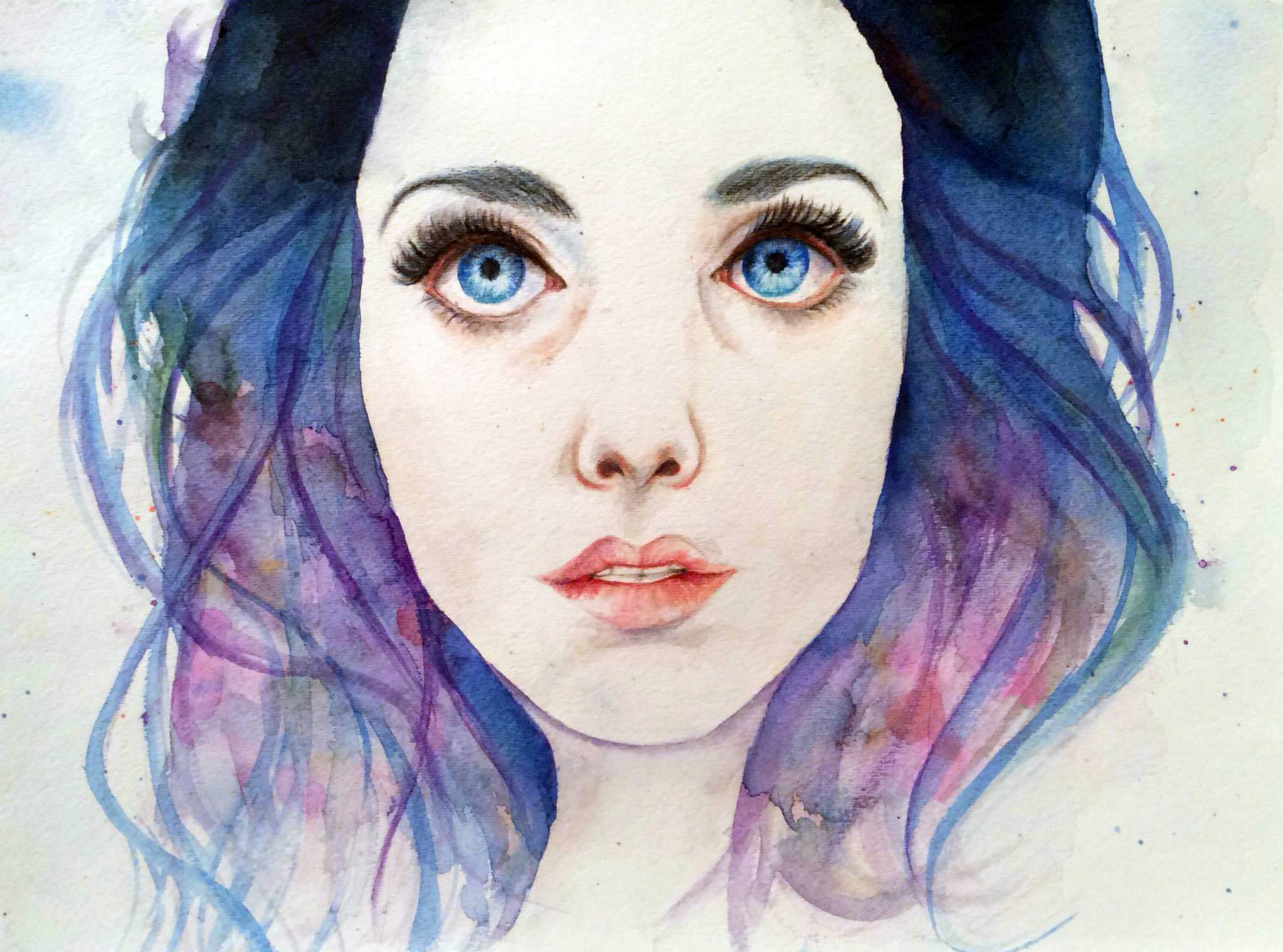 Watercolour portrait of a girl