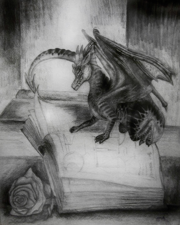 Graphite drawing of a dragon reading