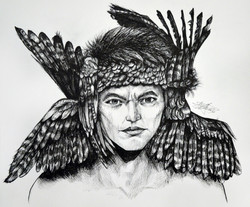Ink portrait with feathered headband