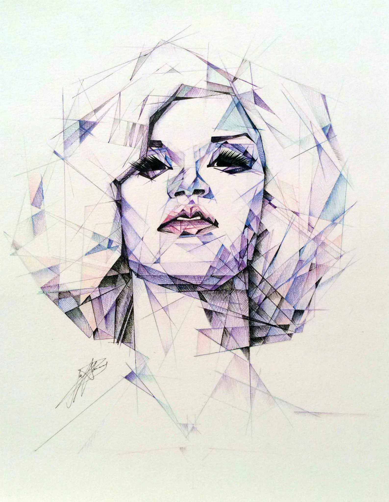 Geometric coloured pencil portrait