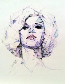Geometric coloured pencil portrait