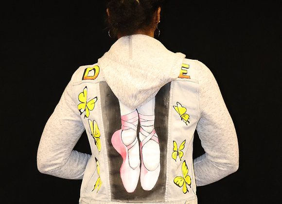 Hand Painted Hooded Jean Jacket - Dance