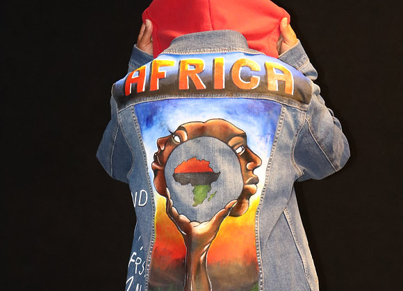 Hand Painted Hooded Jean Jacket - Africa