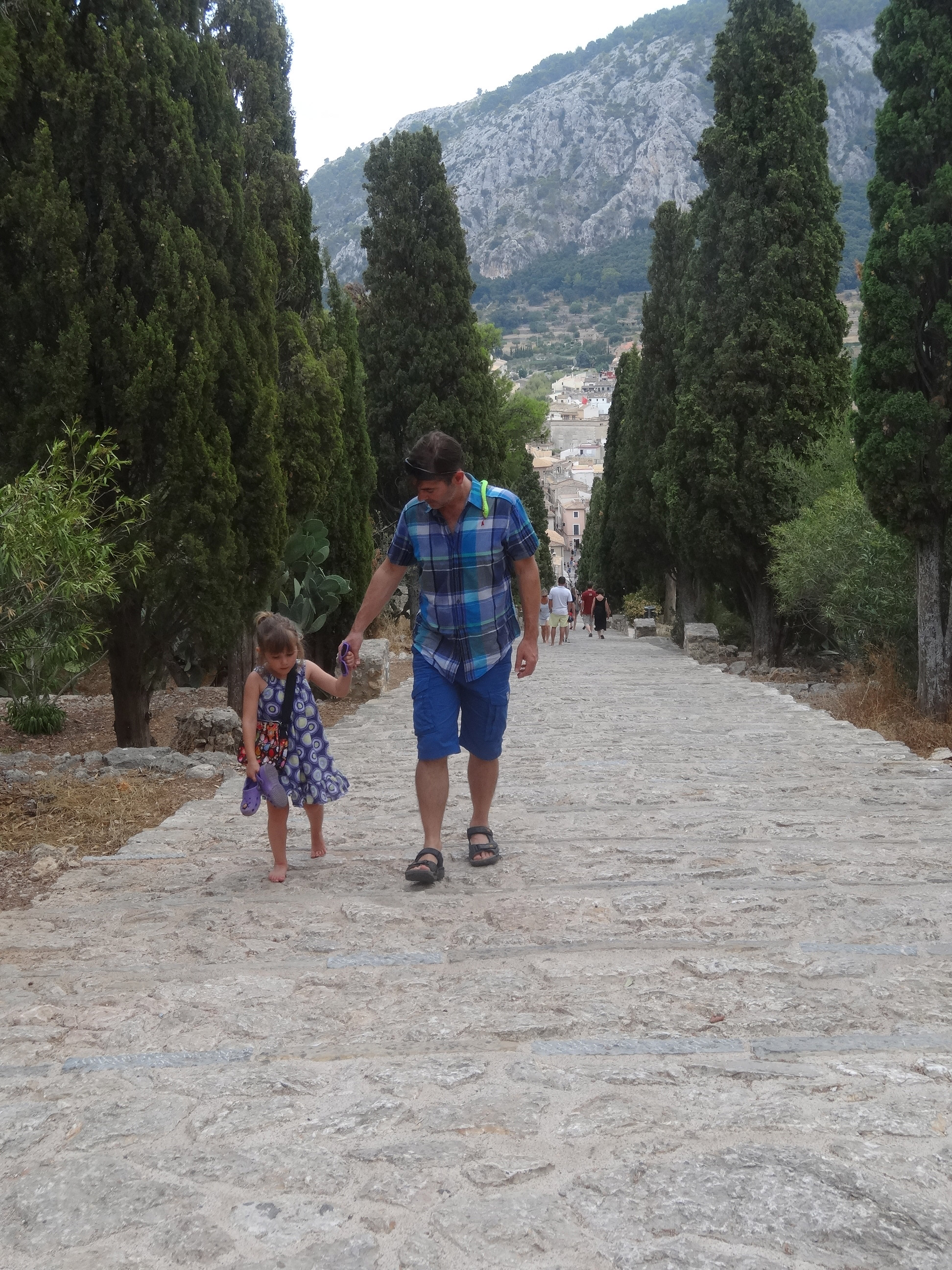 Walking up the steps in Pollensa