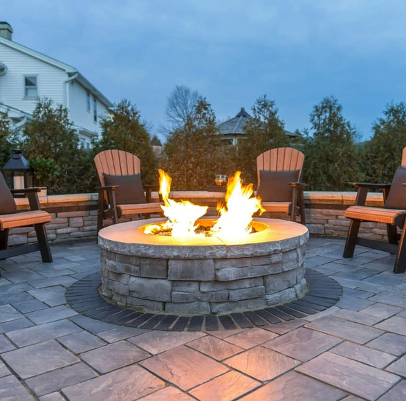 Round Siting are with Gas Fire pit