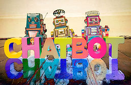 the word  CHAT BOT with wooden letters a